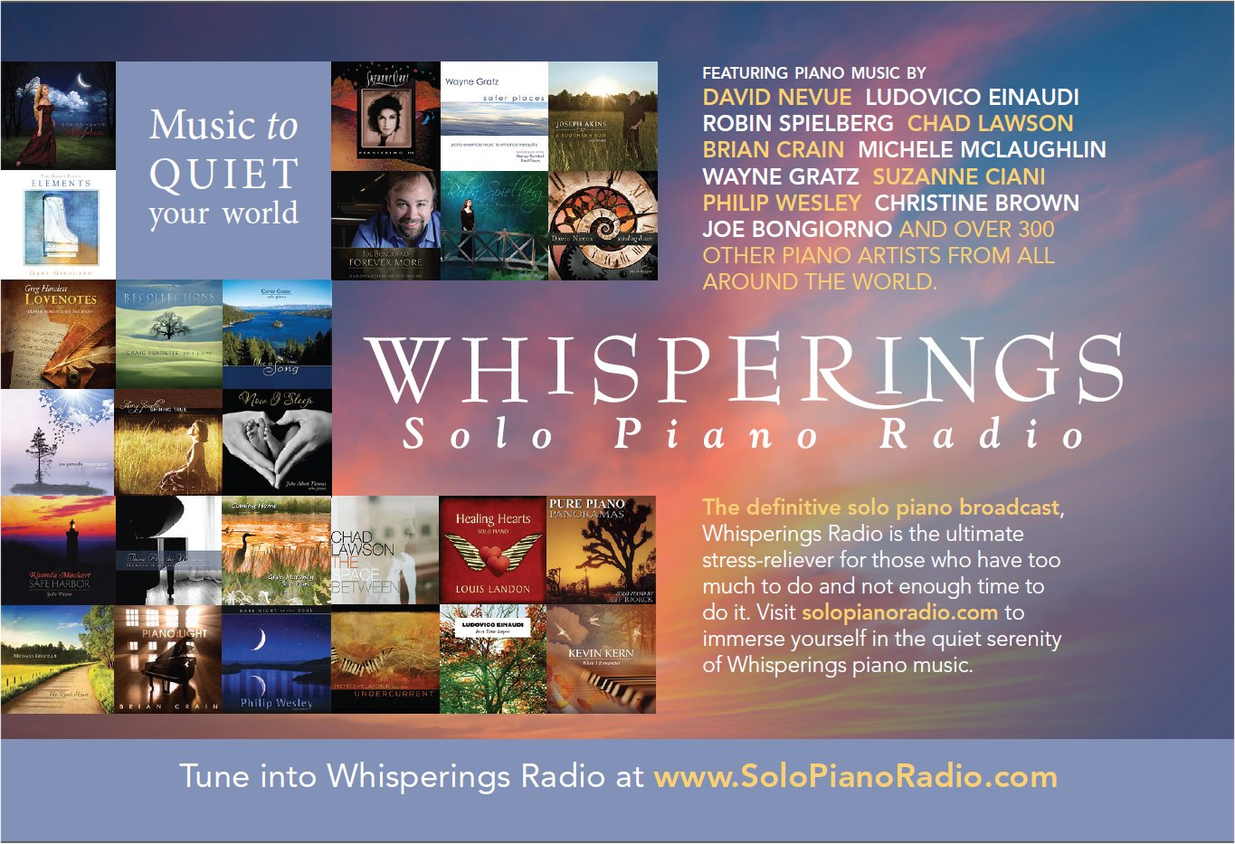 Whisperings: Solo Piano Radio is home to over 340 talented piano artists and broadcasts to tens of thousands of piano music fans from all over the world every day.